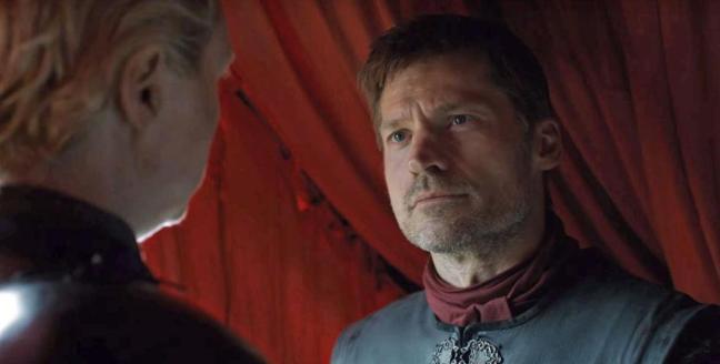 Jaime ja Brienne katkeransuloisina. Kuva: HBO.
